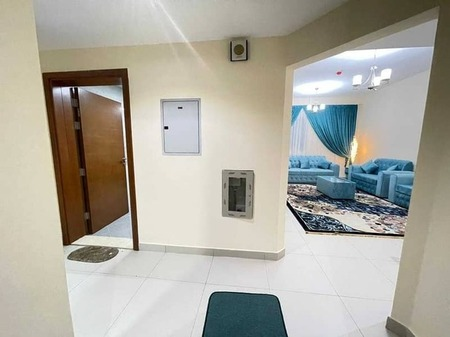 For rent in Ajman, an apartment, a room and a hall with a balcony, with 2 bathrooms, the first inhabitant, furnished, new furniture, in New Balyawara,